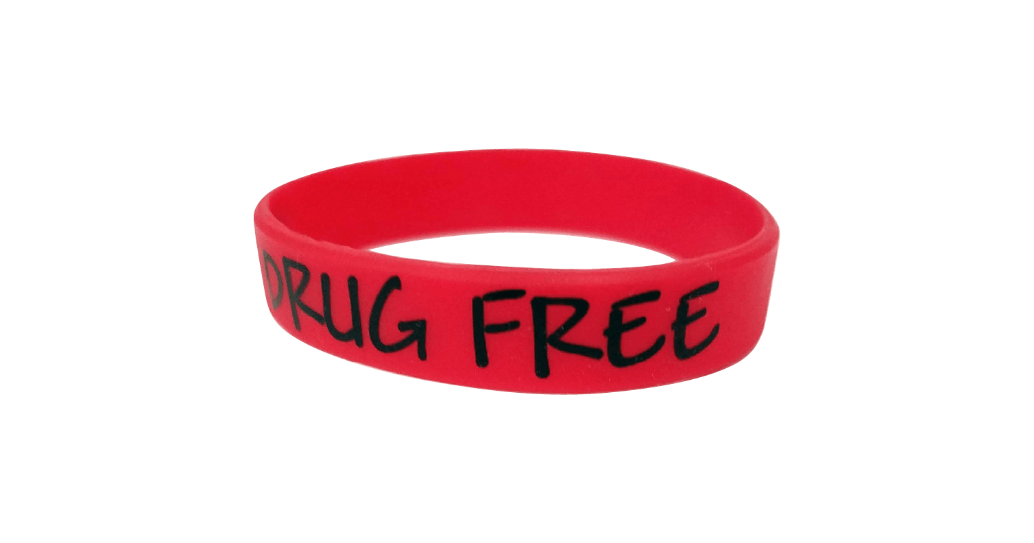 088R Im Drug Free Silica Gel Wristband Red